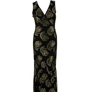 Impulse Womens Lace Metallic Cocktail Dress Black